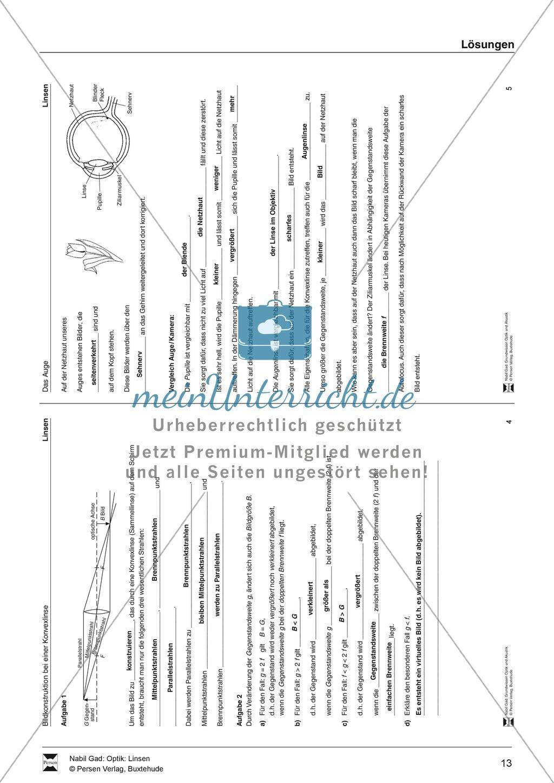 Optik - Bilderzeugung bei der Sammellinse: Vorlage Versuchsprotokoll + Aufgaben + Lösungen Preview 8