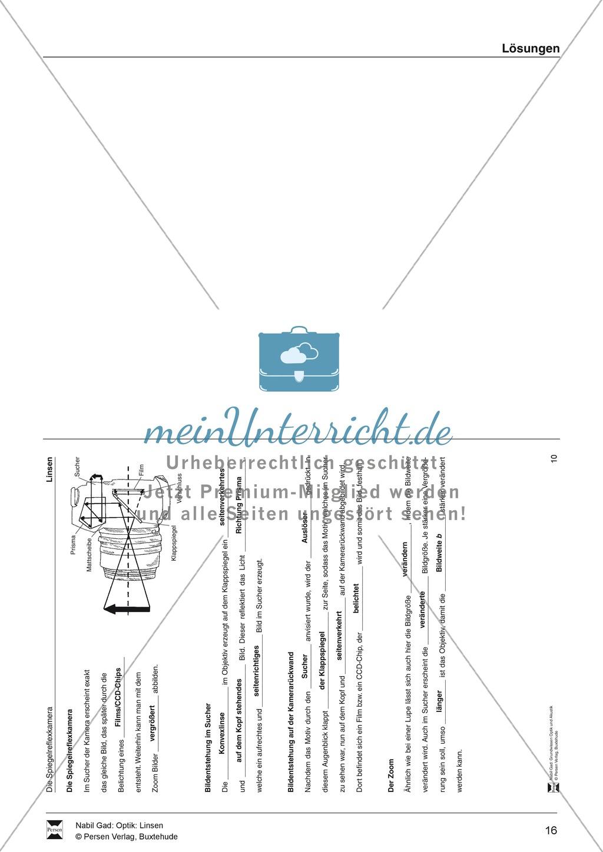 Optik - Aufgaben zu Konvex- und Konkavlinsen: Lückentext + Lösungen Preview 11