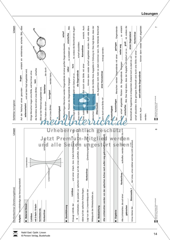 Optik - Aufgaben zu Konvex- und Konkavlinsen: Lückentext + Lösungen Preview 9