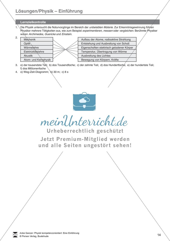 Diagramme Arten Arbeitsblatt : Einführung in physik test lernzielkontrolle über