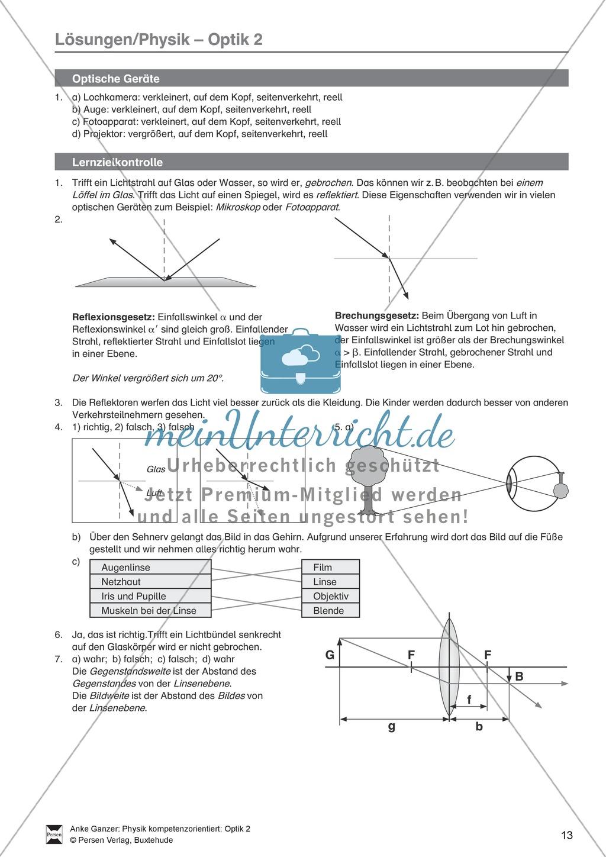 Optik - Test / Lernzielkontrolle zur Lichtbrechung und Linsen + ...