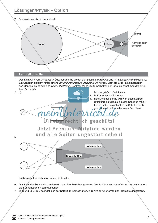Optik: Test / Lernzielkontrolle über Licht und Schatten mit Lösungen ...