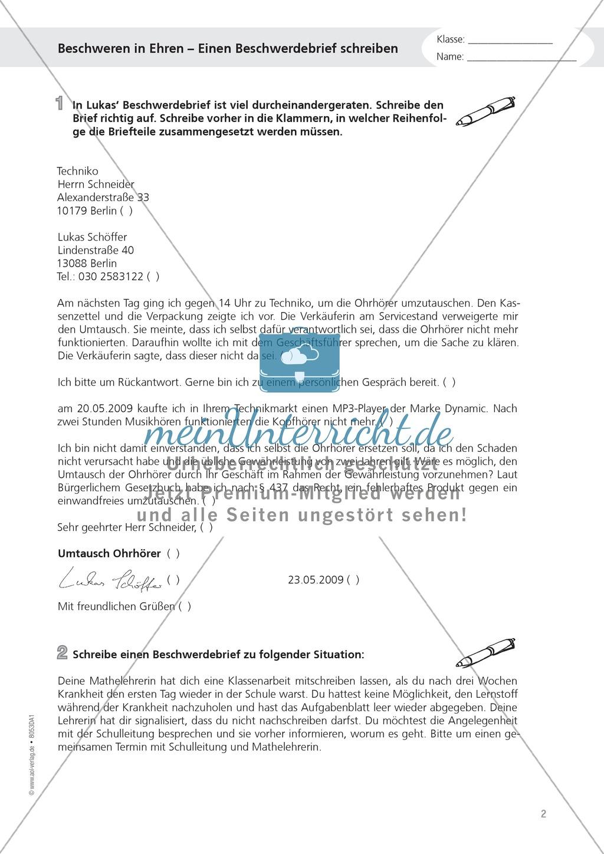 Alltagskompetenz: Beschwerdebrief schreiben Preview 1