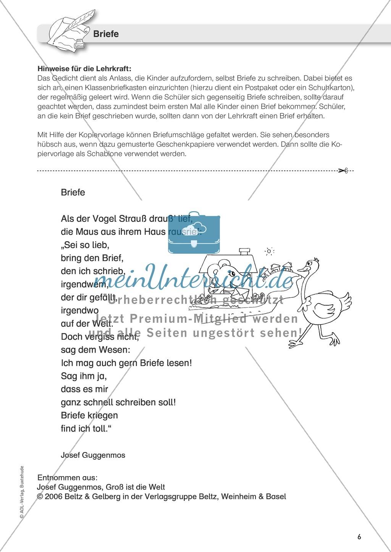 Einen Brief schreiben und gestalten im Zusammenhang mit dem Gedicht