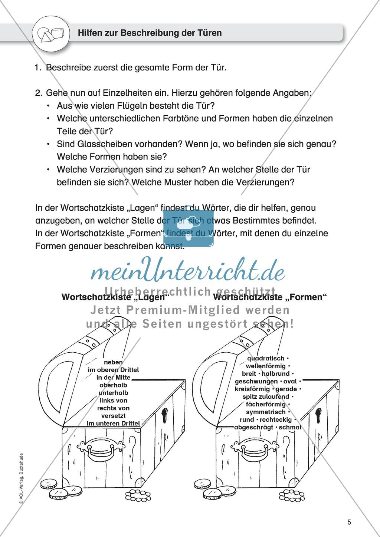 Gegenstandbeschreibungen als Schreibanlass: Türen beschreiben mit dem Türen-Domino Preview 2