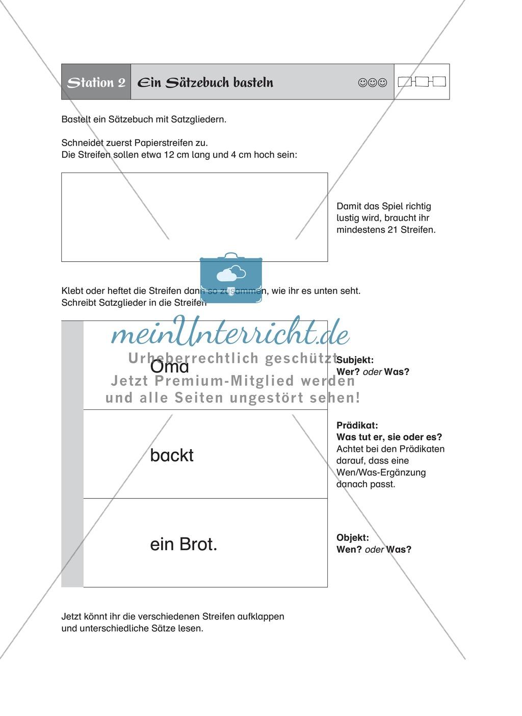 Satzglieder üben an Stationen: Ein Sätzebuch basteln Preview 0