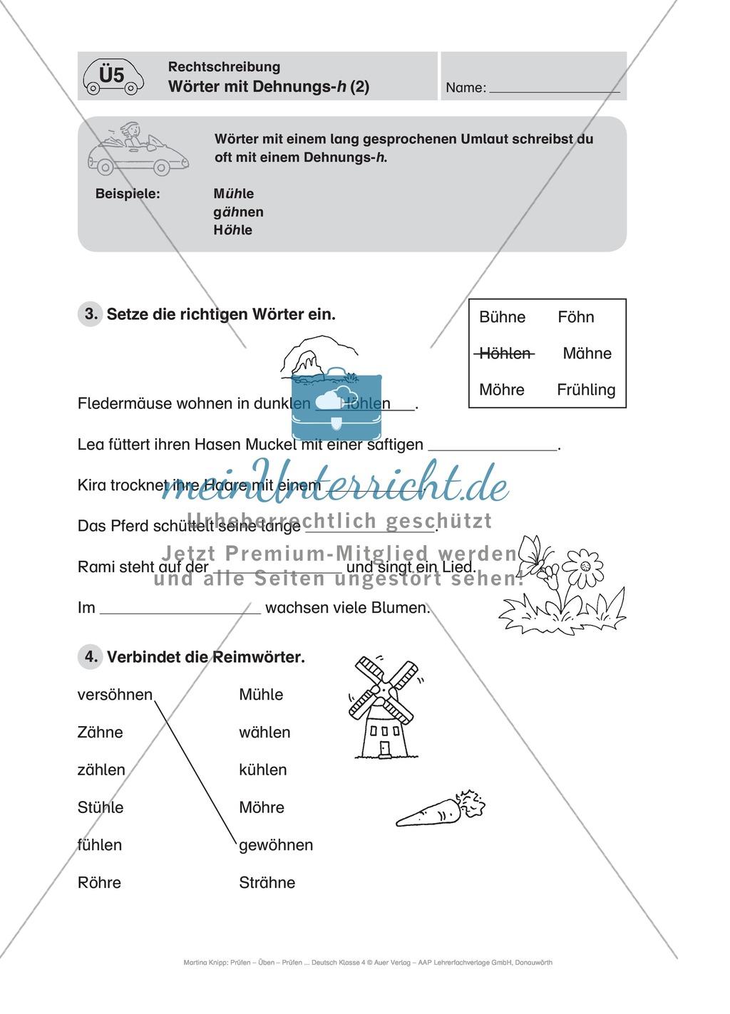 Deutsch-Führerschein: Wörter mit Dehnungs-h richtig schreiben Preview 1