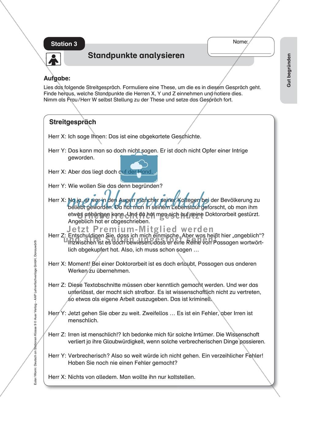 Standpunkte analysieren und vertreten: Streitgespräch, Rollenspiel, Leserbrief Preview 0