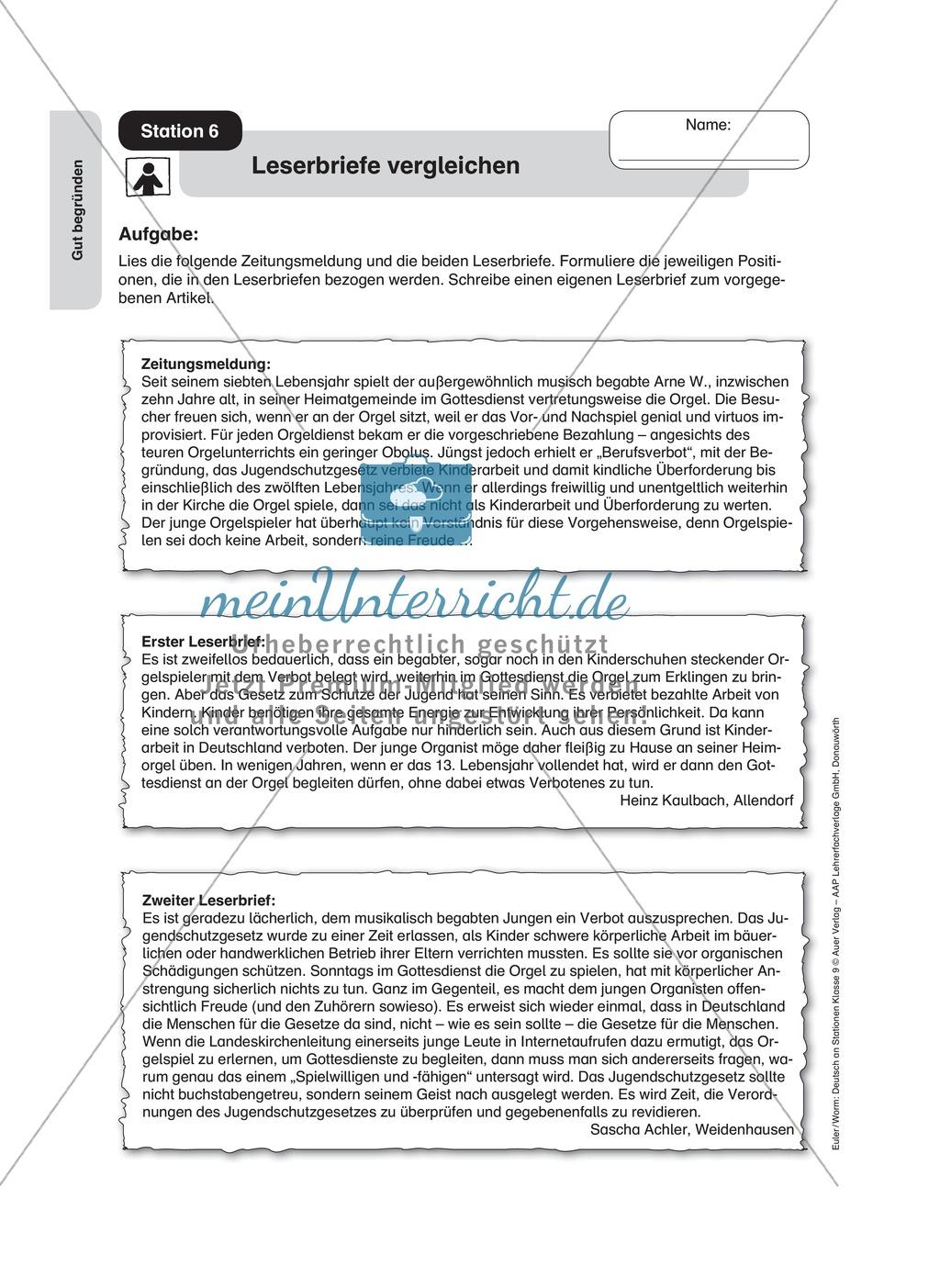 Standpunkte analysieren und vertreten: Streitgespräch, Rollenspiel, Leserbrief Preview 3