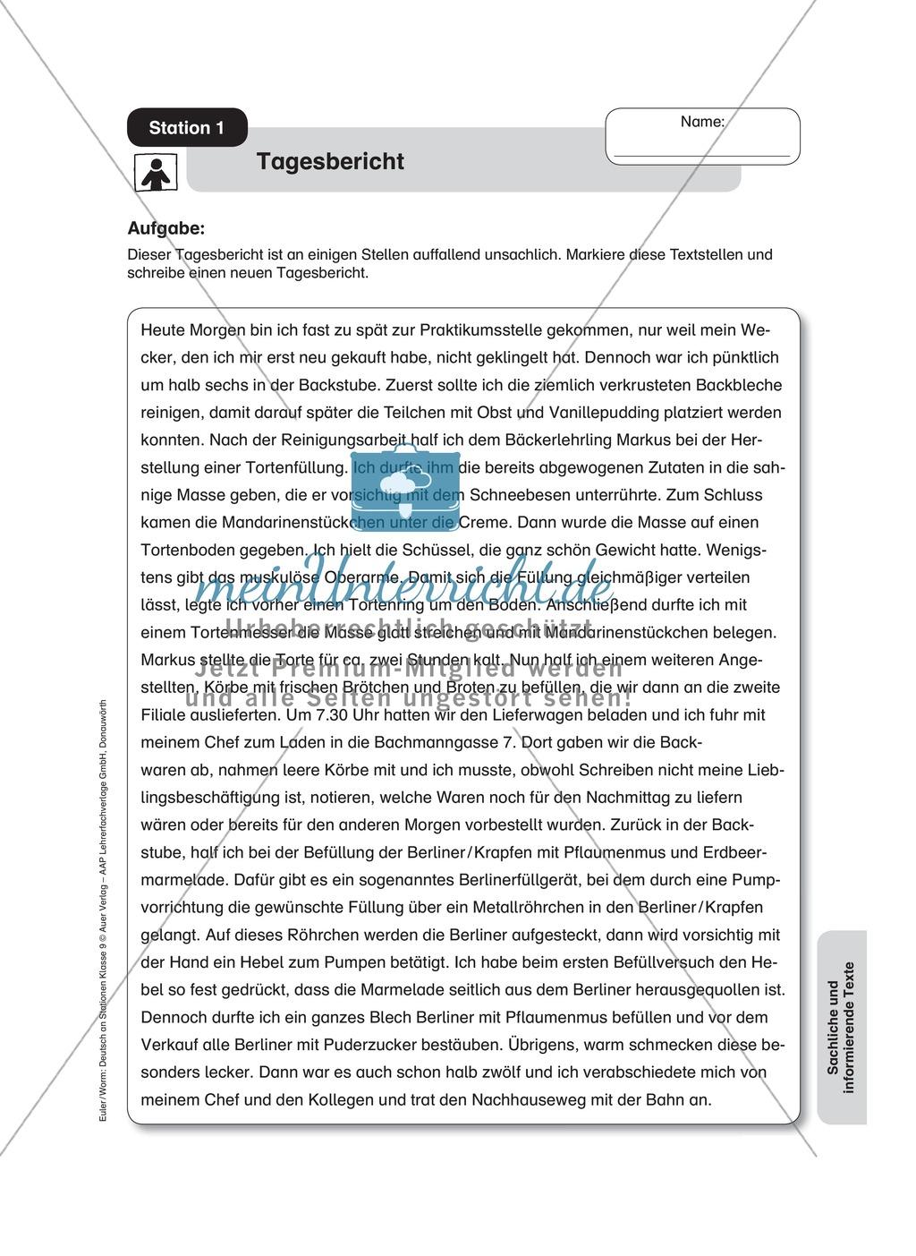 Sachtexte schreiben: einen Tagesbericht korrigieren und verfassen Preview 0