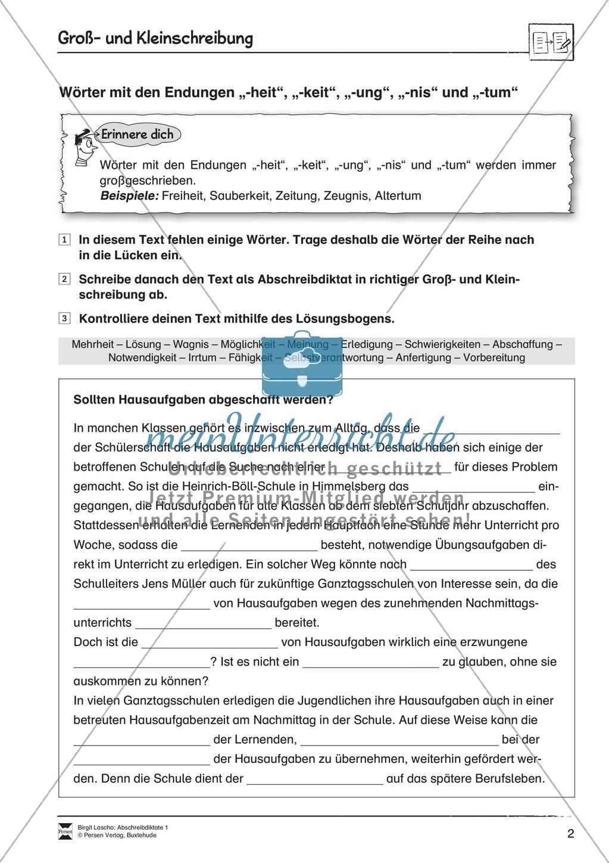 Abschreibdiktate: Groß- und Kleinschreibung + Lückentext Preview 1