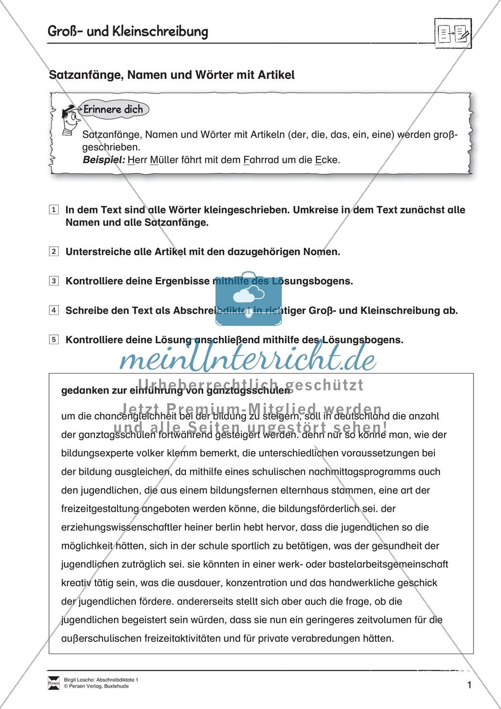 Abschreibdiktate: Satzanfänge + Nomen und Wörter mit Artikel Preview 0