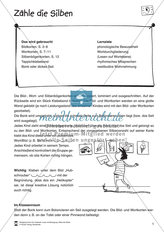 Silbenzählen mit Bild- und Wortkarten: phonologische Bewusstheit, Wortdurchgliederung Preview 1