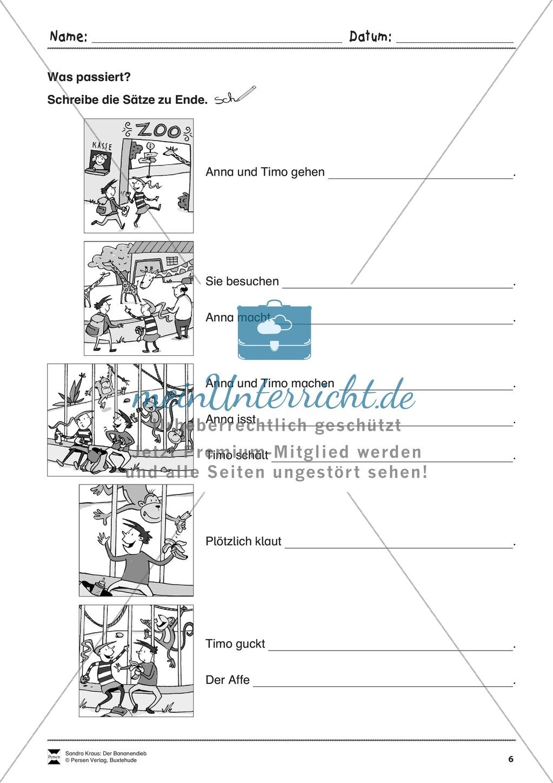 Bildergeschichte: Der Bananendieb - Wortschatz + Schreibkompetenz Preview 5
