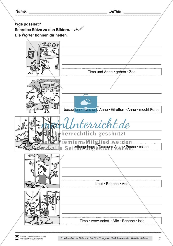 Bildergeschichte: Der Bananendieb - Wortschatz + Schreibkompetenz Preview 6