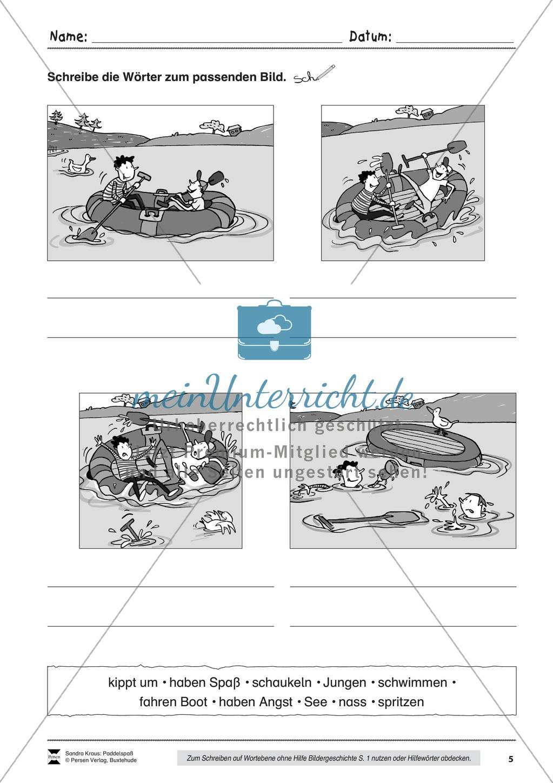 """Sehen und Beschreiben - Bildergeschichten zum Thema """"Paddelspaß"""" Preview 5"""