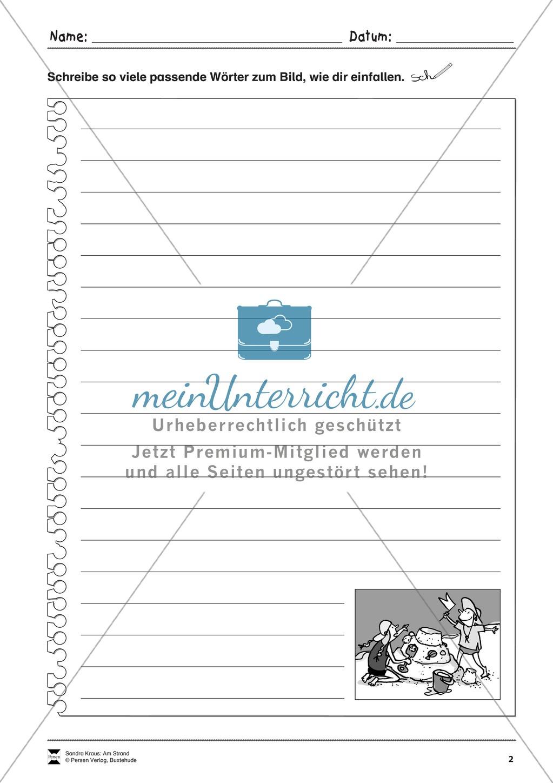 Wimmelbild: Am Strand - Informationen entnehmen + Schreibkompetenz Preview 1