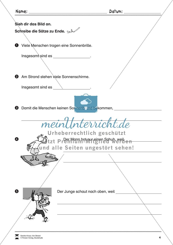 Wimmelbild: Am Strand - Informationen entnehmen + Schreibkompetenz Preview 3