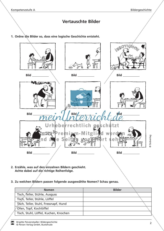 Eine Papa Moll-Bildergeschichte ordnen und passende Nomen zuordnen: Kompetenzstufe A Preview 1