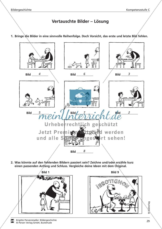 Eine Papa Moll-Bildergeschichte ordnen und fehlende Bilder ergänzen: Kompetenzstufe C Preview 2