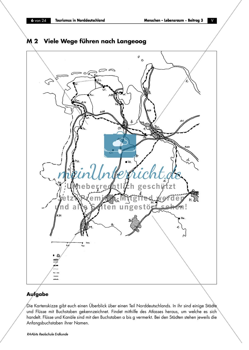 Tourismus in Norddeutschland - am Beispiel Langeoog: Topographische Einordnung + Besonderheiten der Anreise Preview 1