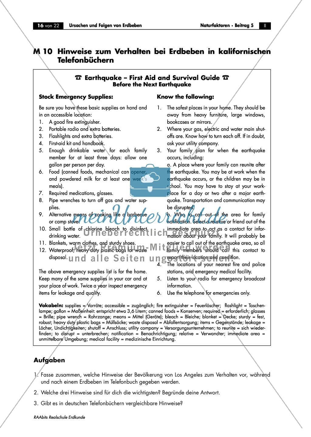 Erdbeben: Schutzmaßnahmen + Verhaltensregeln Preview 1