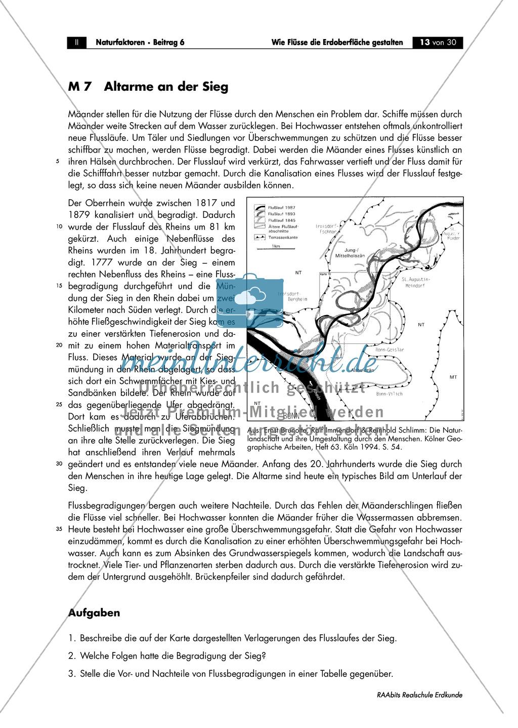 Flussdynamik- und Morphologie am Beispiel des Rheins: Prall- und Gleithang + Mäander + Altarme + Talformen + Flussmündungen Preview 5