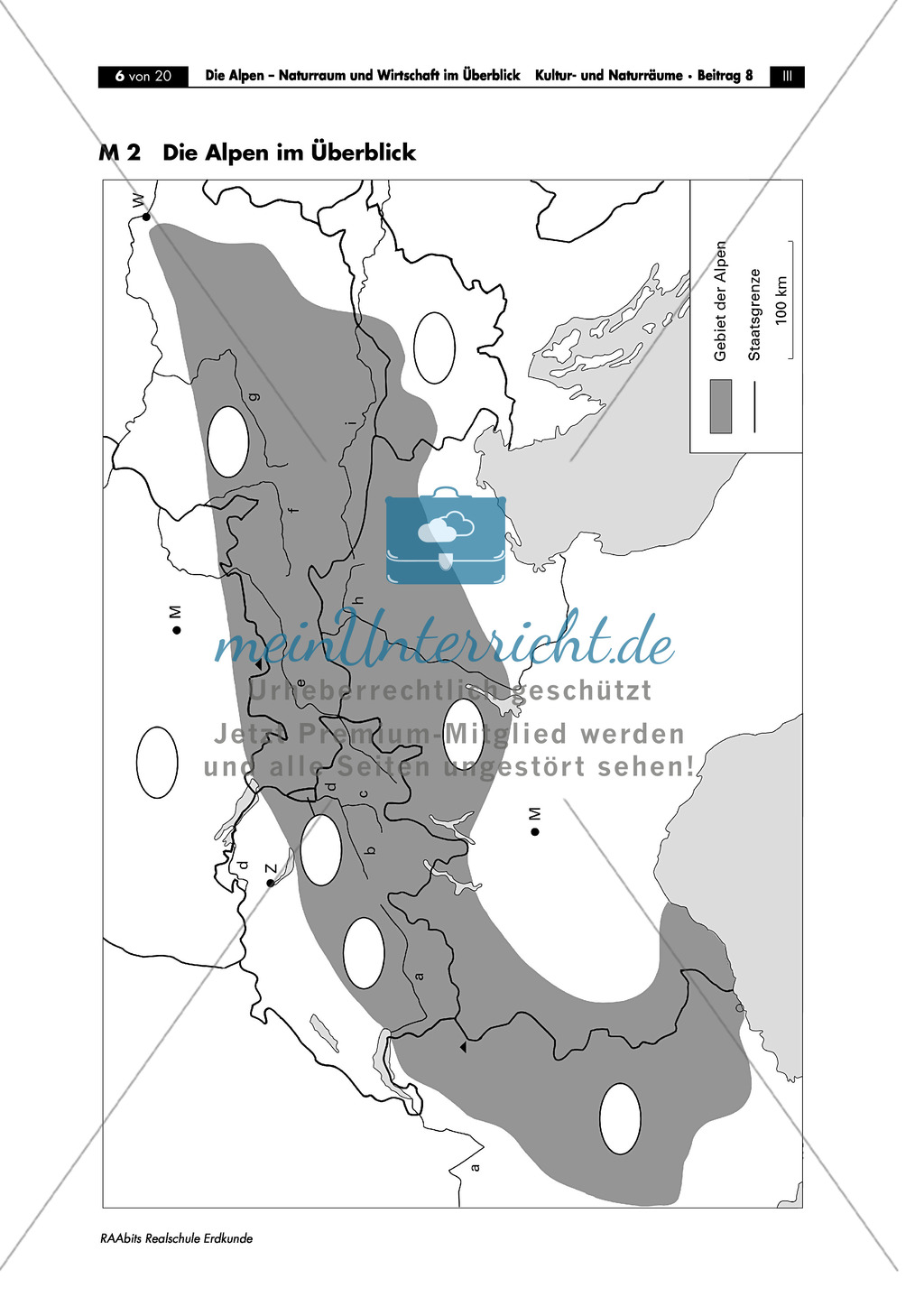 Naturraum + Wirtschaft der Alpen: Topographie + Bedeutung als Verkehrs- und Transitraum Europas Preview 1