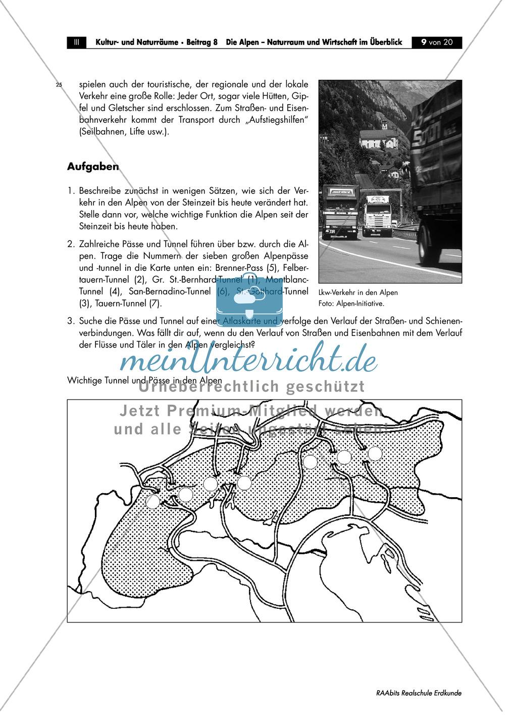 Naturraum + Wirtschaft der Alpen: Topographie + Bedeutung als Verkehrs- und Transitraum Europas Preview 4
