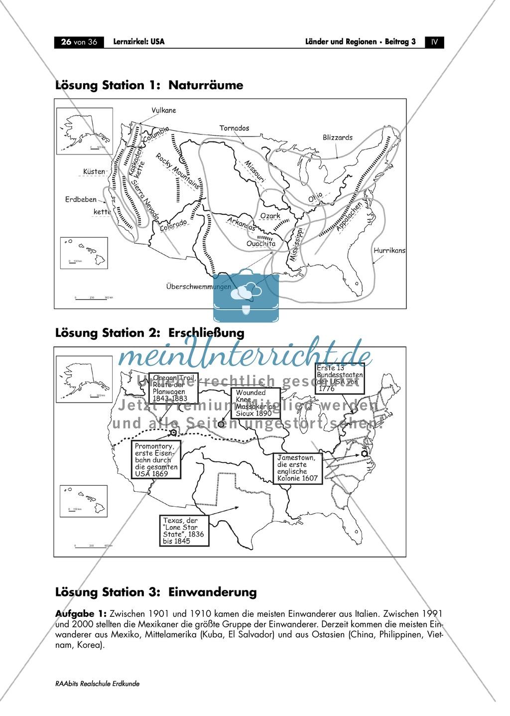Die USA - Arbeit mit Atlanten: Naturräume - Großräume + Gebirge + ...