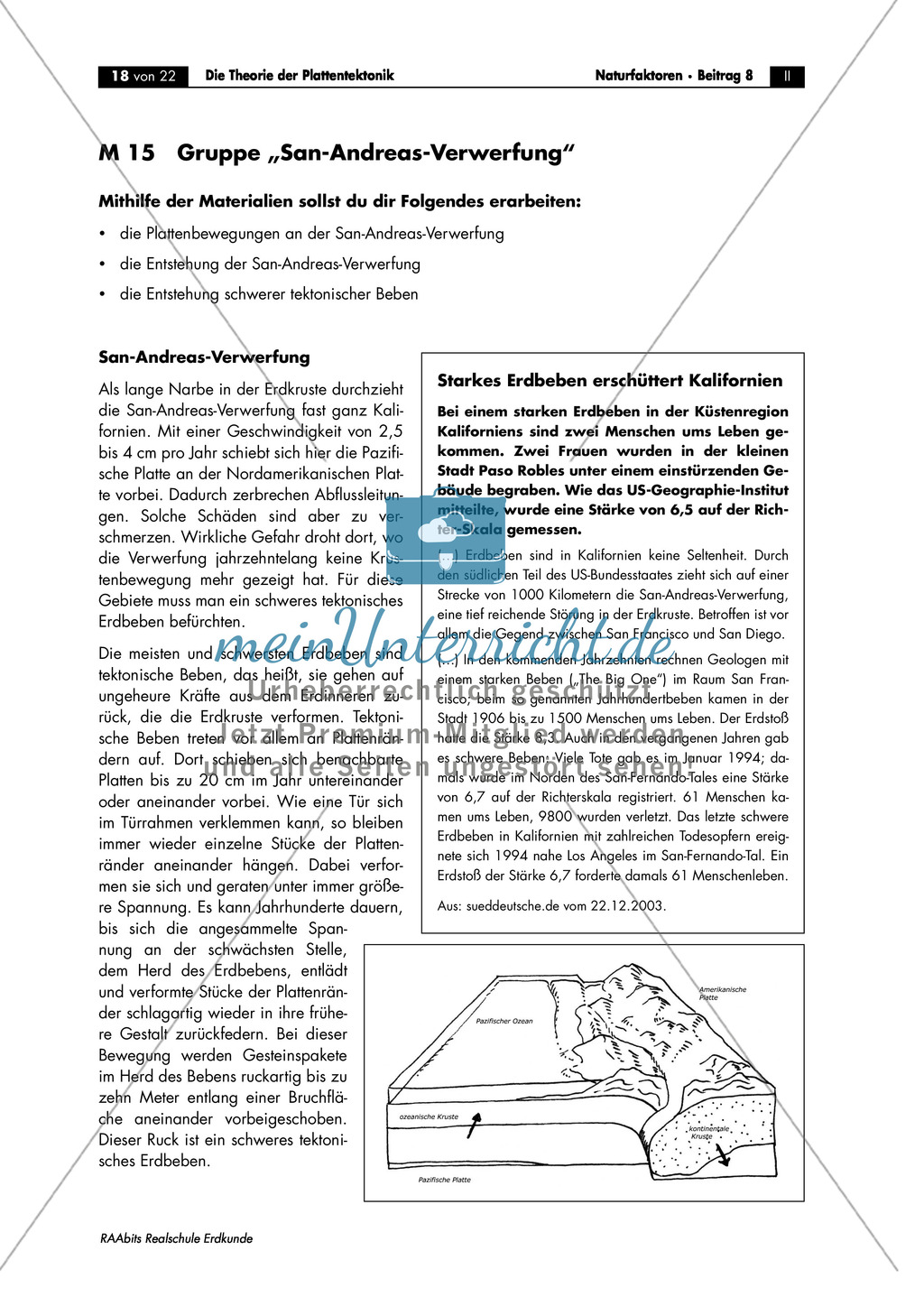 Plattentektonik anhand von Raumbeispielen: San-Andreas-Verwerfung ...