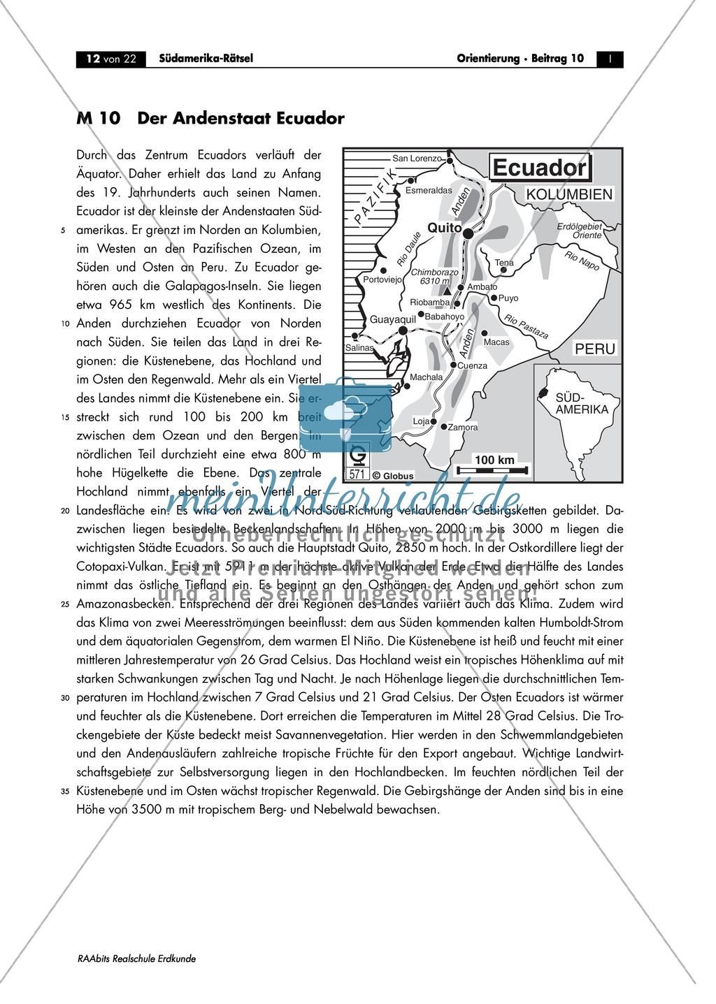 Südamerika: Ecuador - Landesbeschreibung + Multiple Choice + Landwirtschaft Preview 0