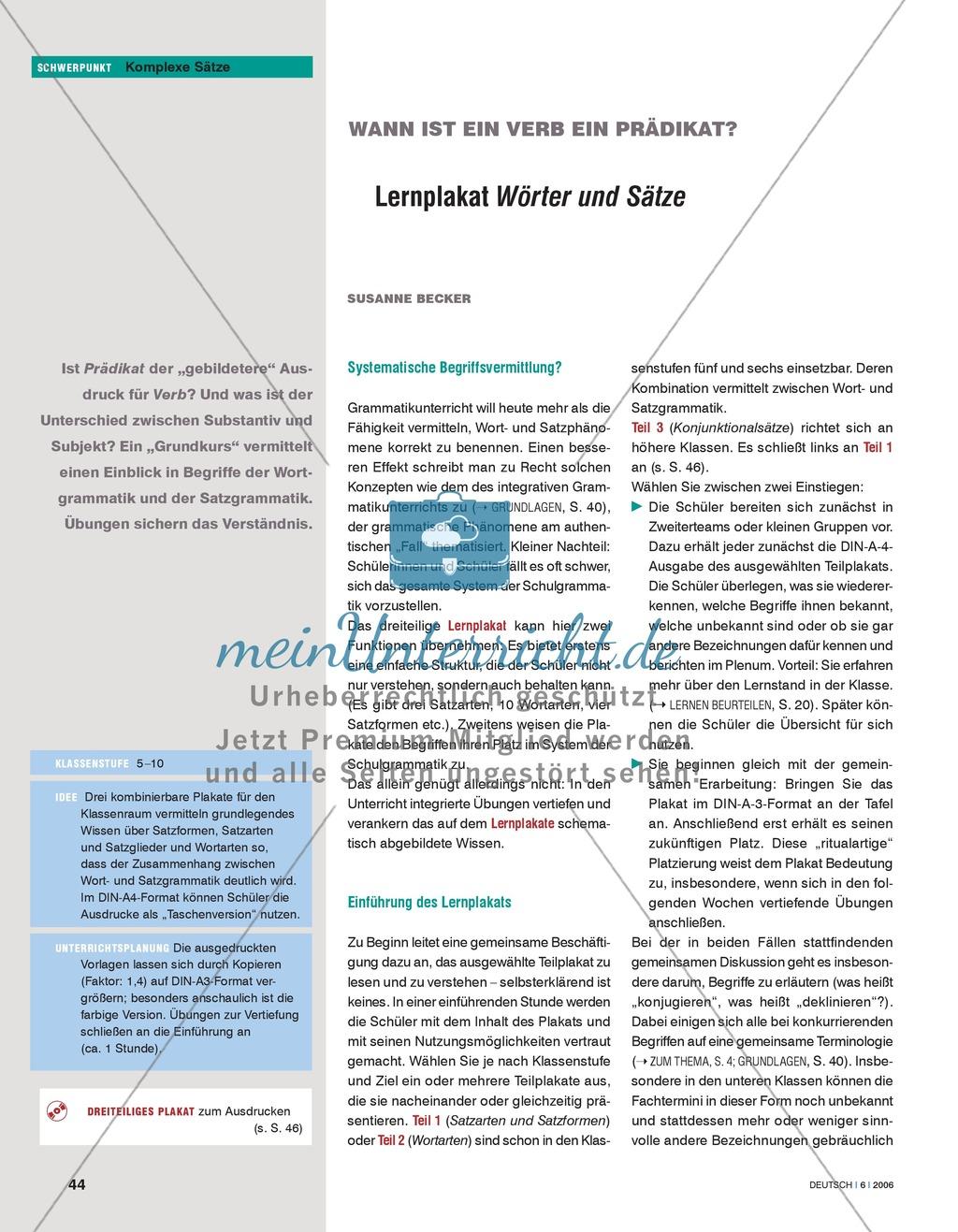 Grammatikunterricht - Komplexe Sätze: Lernplakat zur Wort- und Satzgrammatik Preview 0