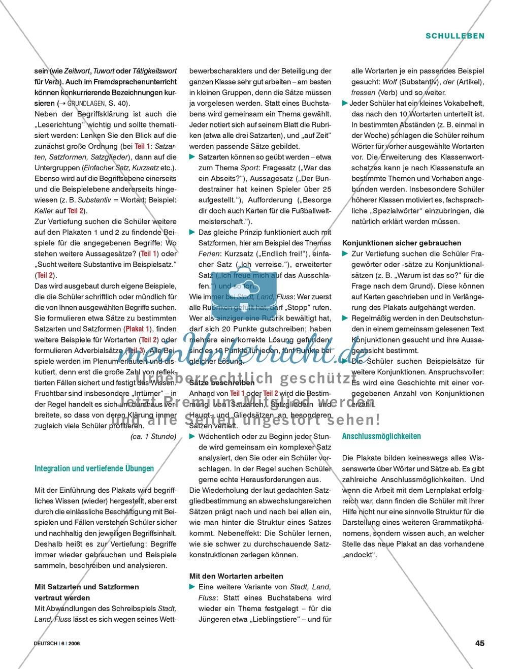 Grammatikunterricht - Komplexe Sätze: Lernplakat zur Wort- und Satzgrammatik Preview 1