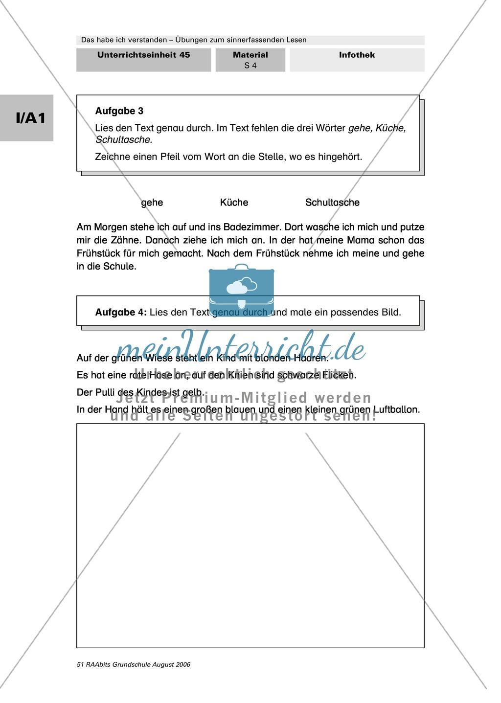 Übungen zum sinnerfassenden Lesen: Wort-Satz-Zuordnungen Preview 4
