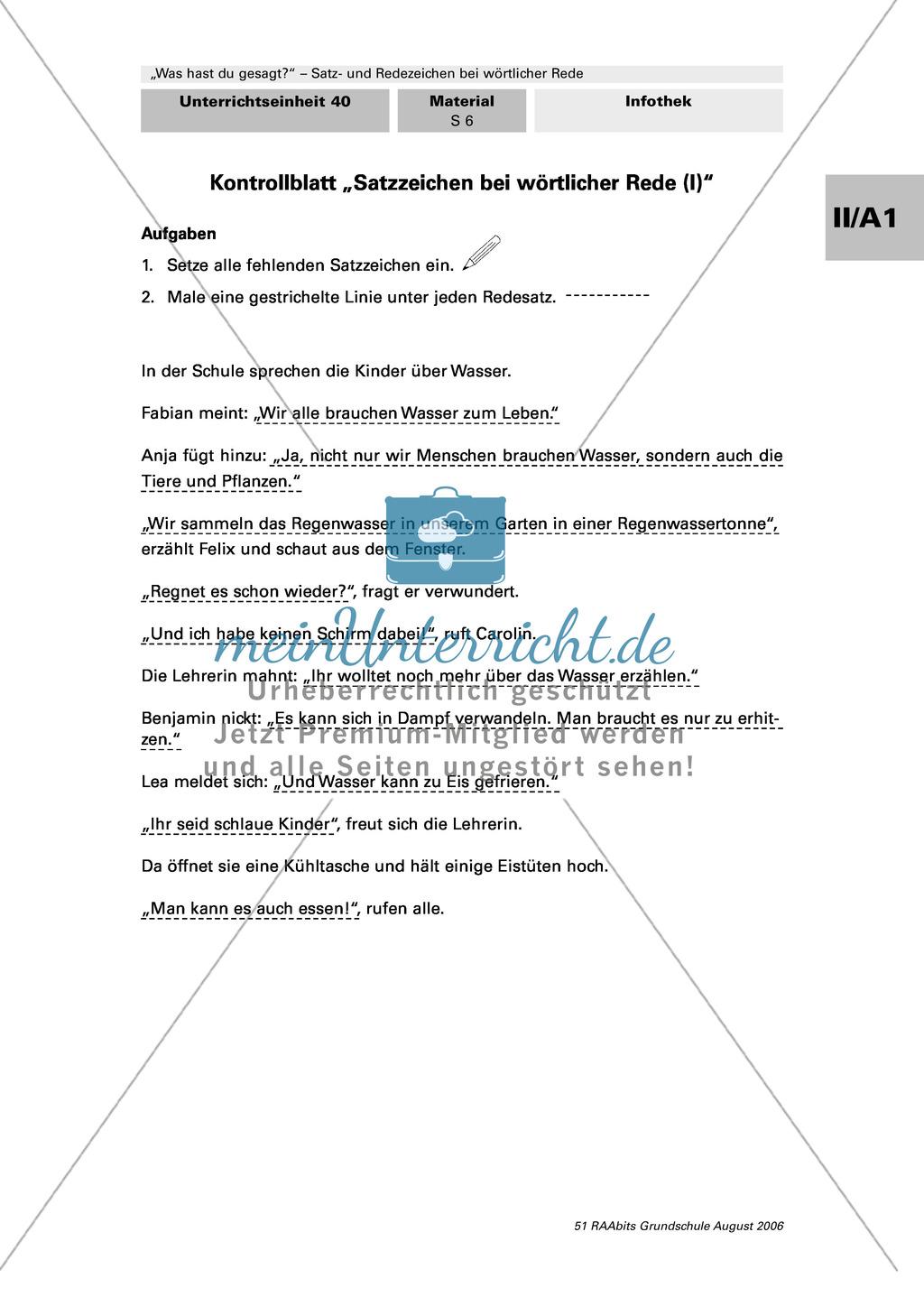 Rede und Satzzeichen bei wörtlicher Rede: Anwendung in einem größeren Zusammenhang: Dialoge und Texte Preview 1
