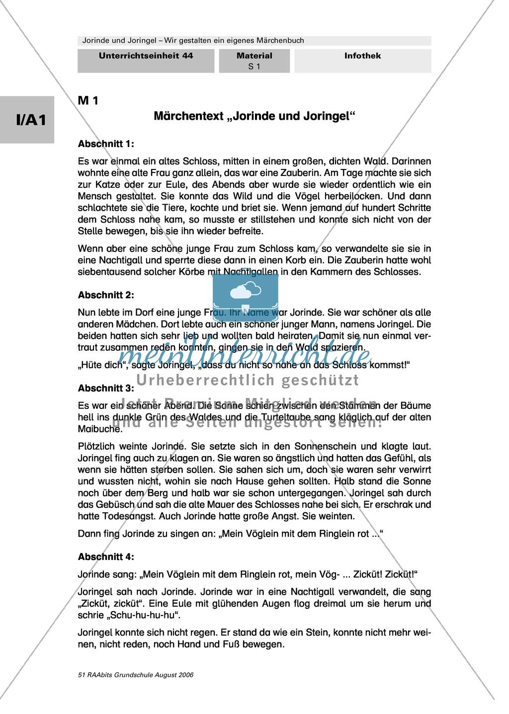 """Gestaltung eines eigenen Märchenbuchs: Märchentext """"Jorinde und Joringel"""" Preview 1"""