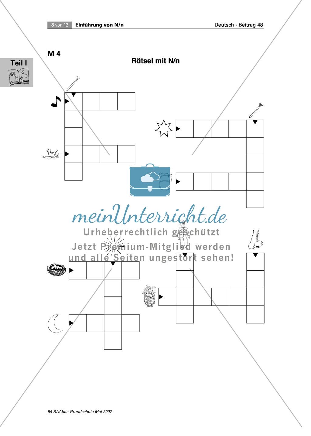 Einführung des Buchstaben N/n: Rätsel, Puzzle und Würflespiel zum Erkennen des Buchstaben N/n Preview 0