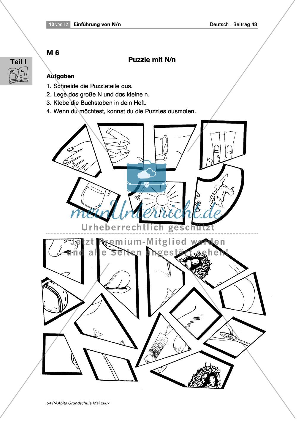 Einführung des Buchstaben N/n: Rätsel, Puzzle und Würflespiel zum Erkennen des Buchstaben N/n Preview 2