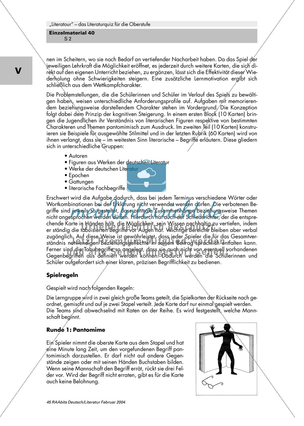 Literaturquiz für die Oberstufe Preview 1