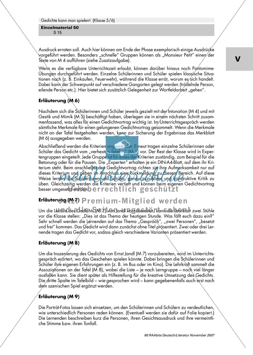 Inszenierung zweier Gedichte von Erich Kästner und Ernst Jandl mit Gestik, Mimik und Intonation als Mittel zur Texterschließung Preview 10