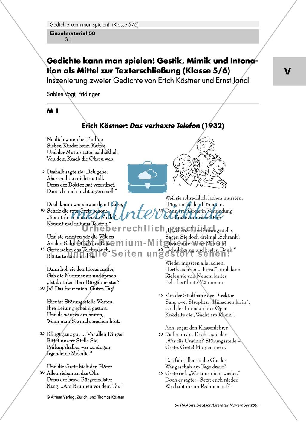 Inszenierung zweier Gedichte von Erich Kästner und Ernst Jandl mit Gestik, Mimik und Intonation als Mittel zur Texterschließung Preview 0