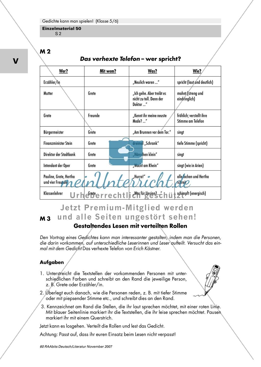 Inszenierung zweier Gedichte von Erich Kästner und Ernst Jandl mit Gestik, Mimik und Intonation als Mittel zur Texterschließung Preview 1