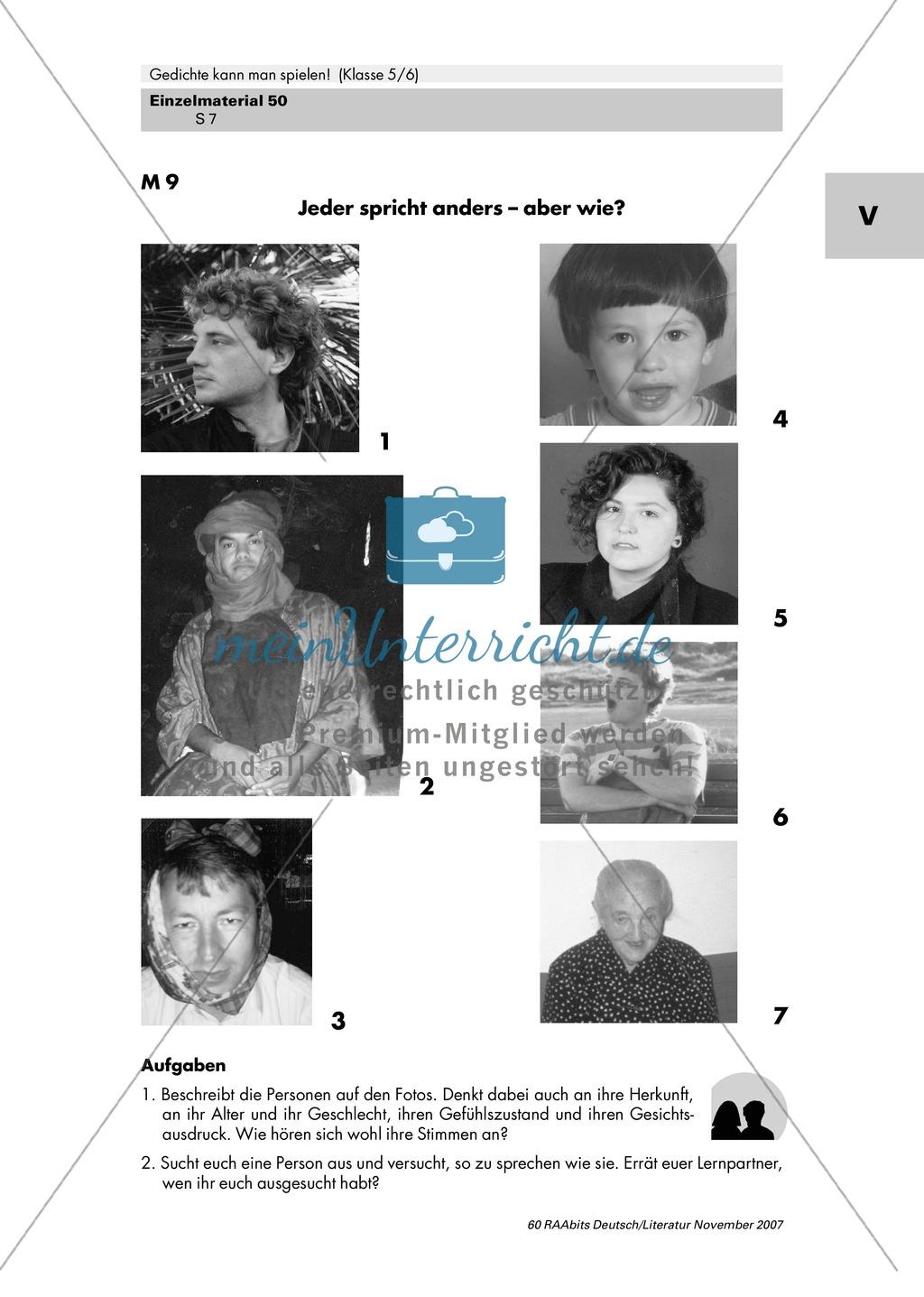 Inszenierung zweier Gedichte von Erich Kästner und Ernst Jandl mit Gestik, Mimik und Intonation als Mittel zur Texterschließung Preview 6