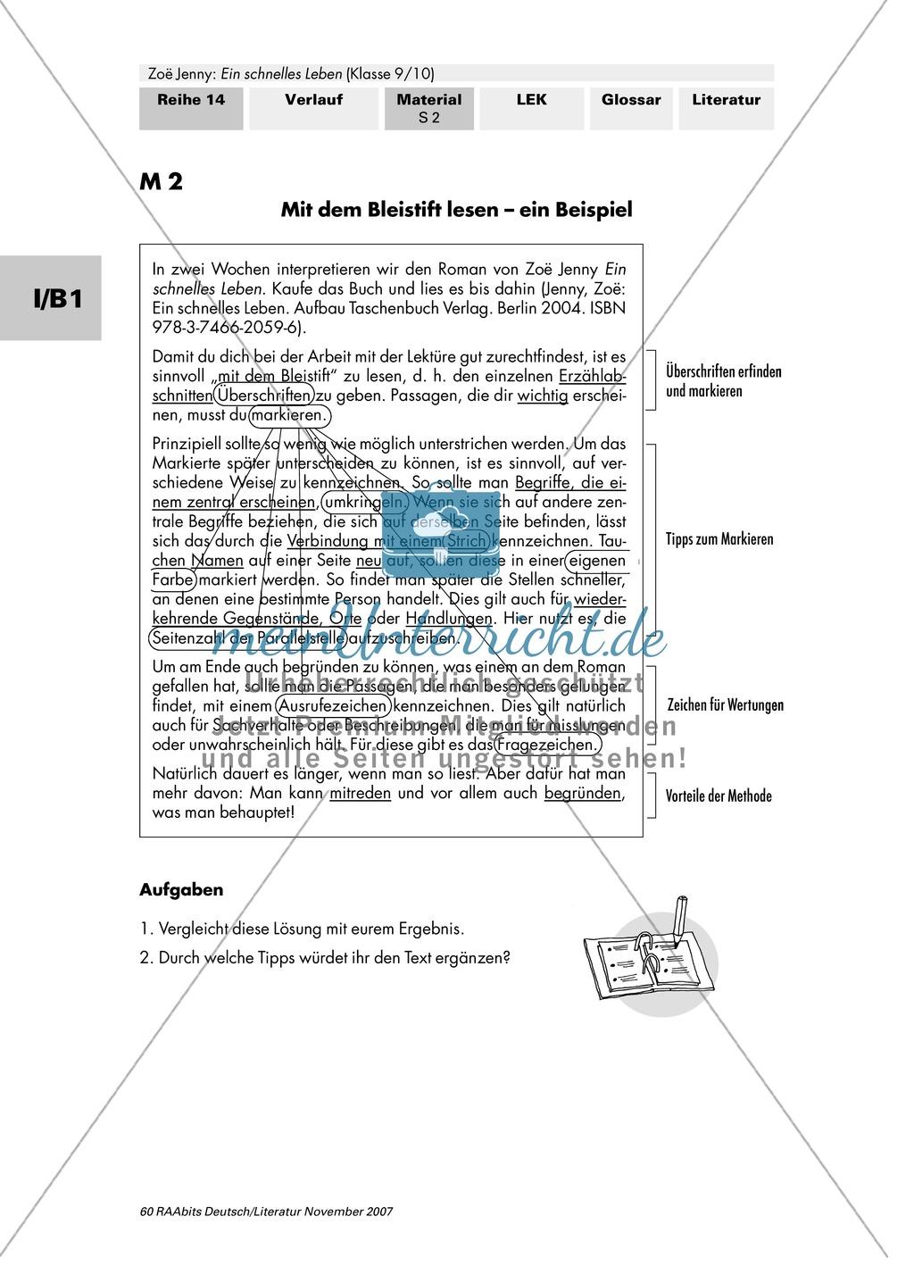 """Zoë Jenny: """"Ein schnelles Leben"""": Arbeitsauftrag zur Lektüre Preview 2"""