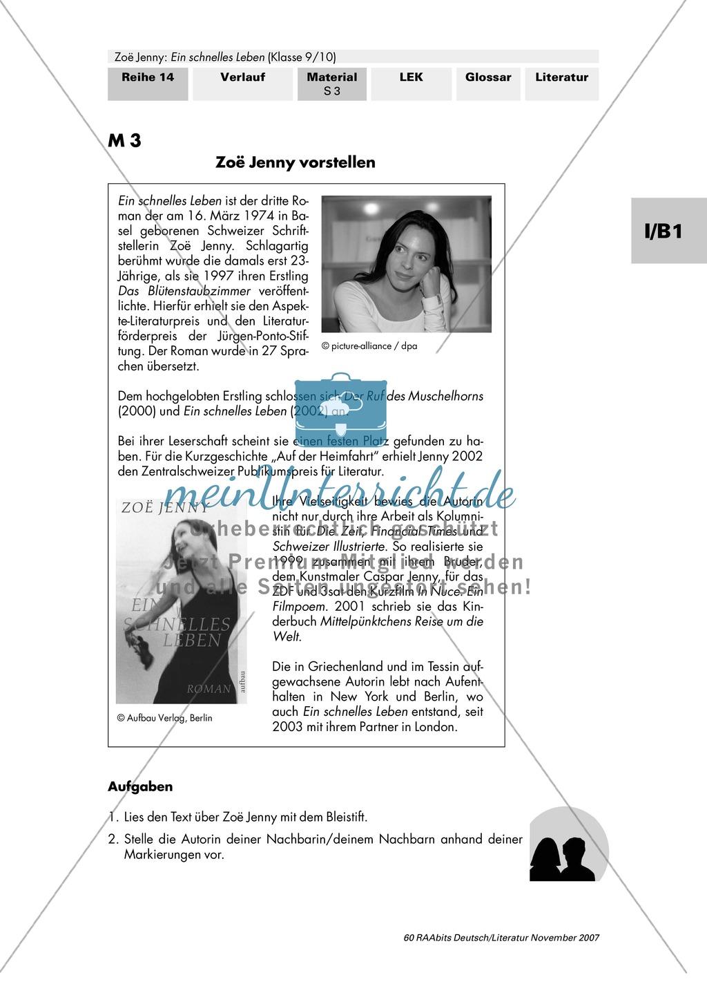 """Zoë Jenny: """"Ein schnelles Leben"""": Arbeitsauftrag zur Lektüre Preview 3"""
