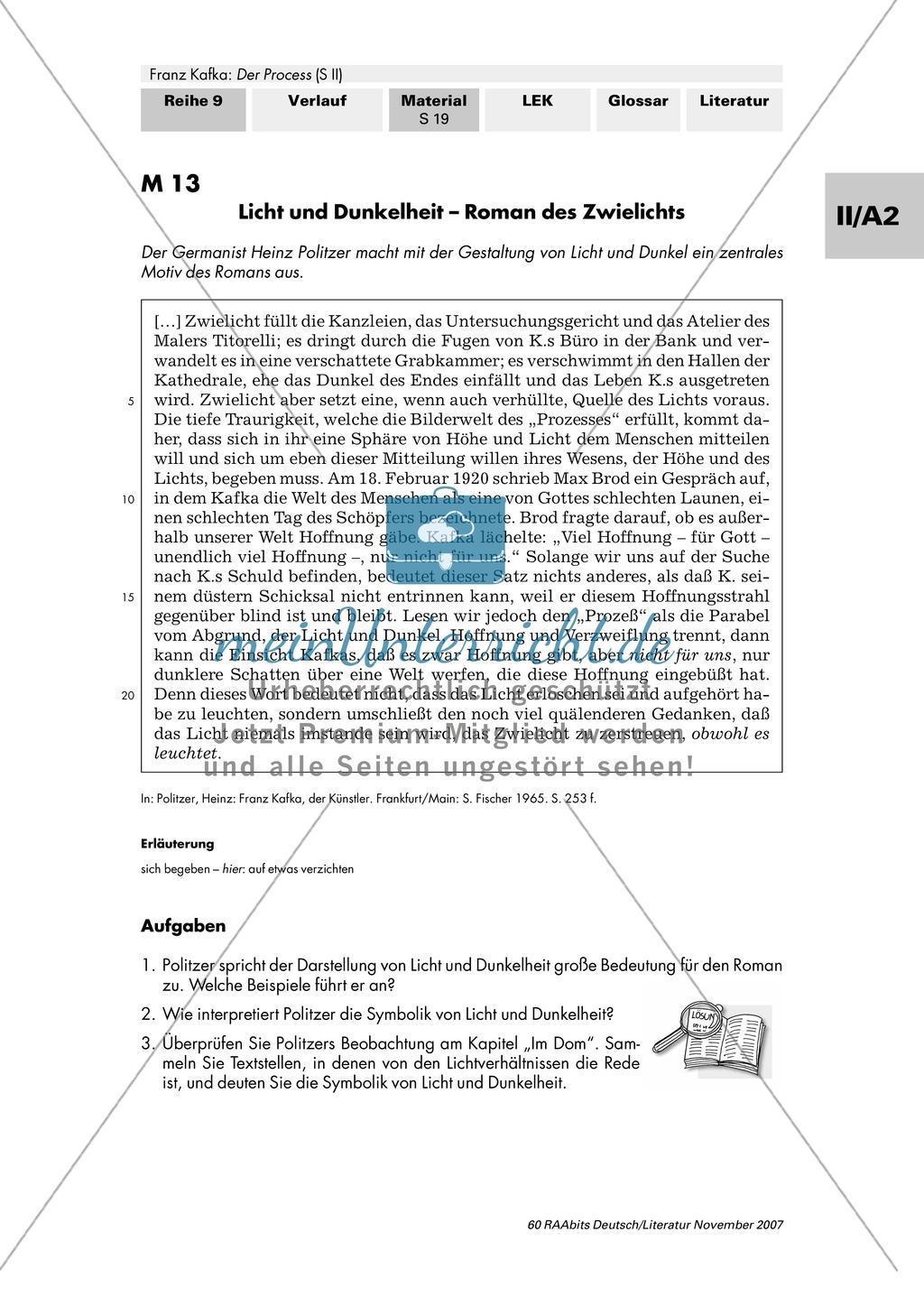 """Franz Kafka """"Der Process"""": Die Symbolik von Licht und Dunkelheit im Kapitel """"Im Dom"""" Preview 1"""