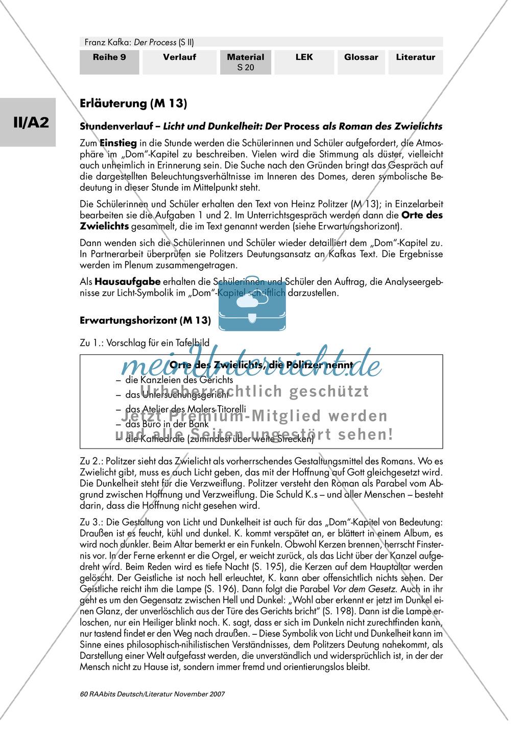 """Franz Kafka """"Der Process"""": Die Symbolik von Licht und Dunkelheit im Kapitel """"Im Dom"""" Preview 2"""