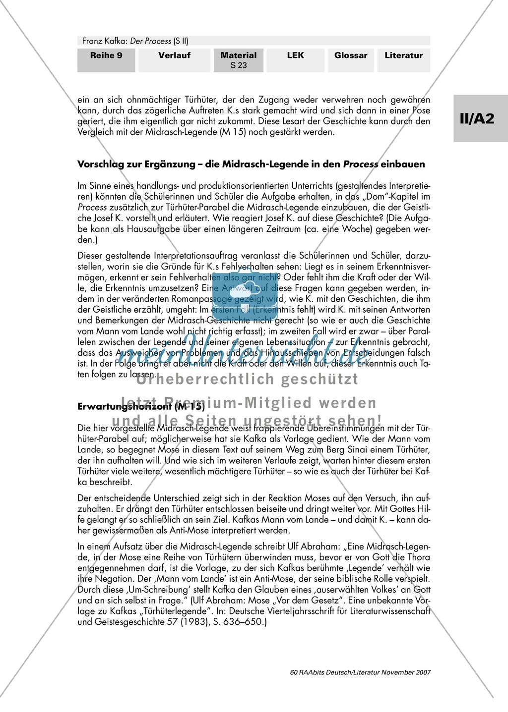 """Franz Kafka """"Der Process"""": Interpretation durch Inszenierung - Verschiedene Deutungsvarianten der Parabel """"Vor dem Gesetz"""" Preview 3"""