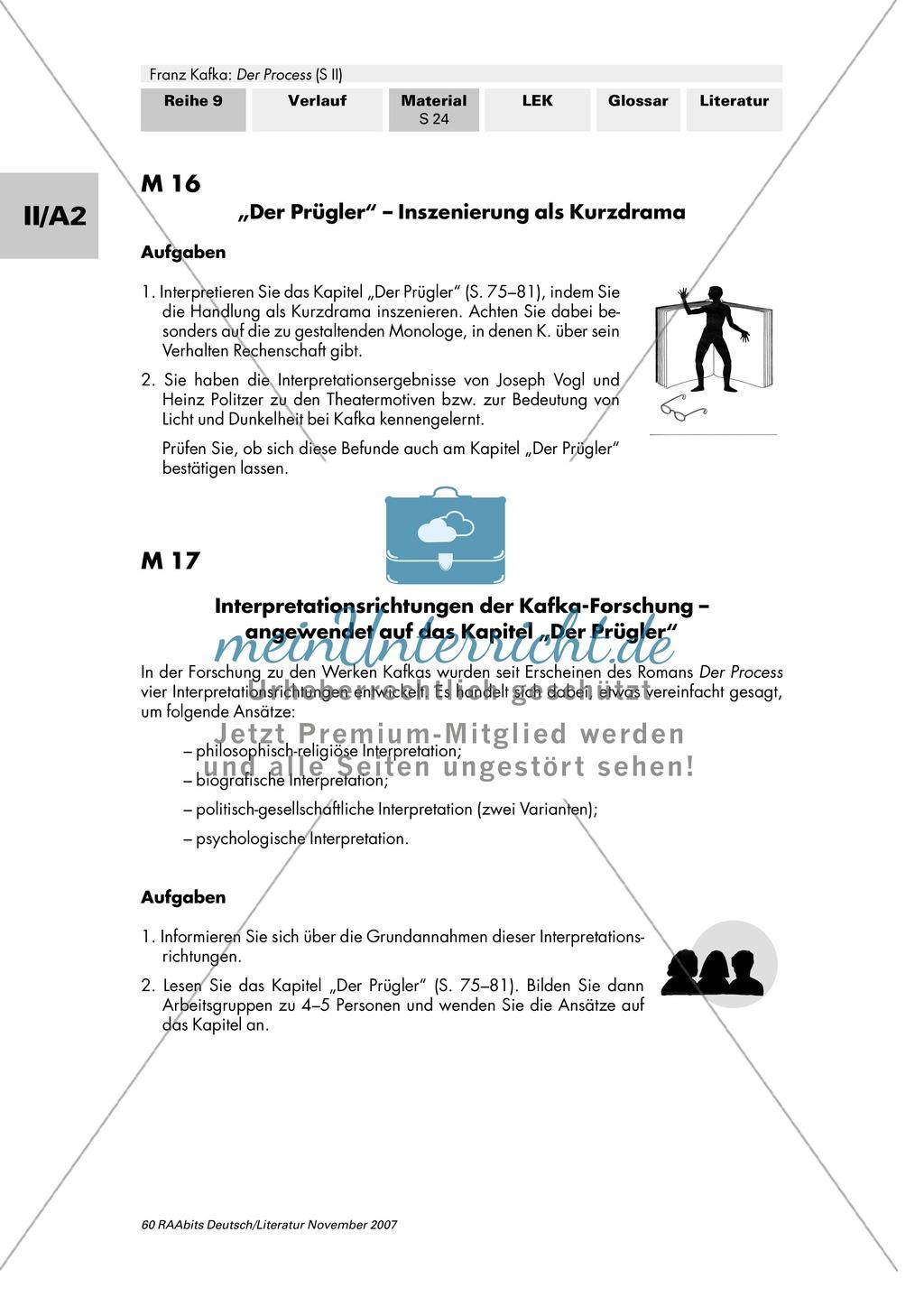"""Franz Kafka """"Der Process"""": Szenische Interpretation des Kapitels """"Der Prügler"""" - Inszenierung als Kurzdrama Preview 1"""